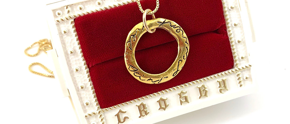 Repurposed Vintage YSL Script Floating Circle Charm Necklace