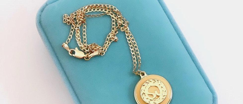 Repurposed St. John Peach & Gold Logo Charm Necklace