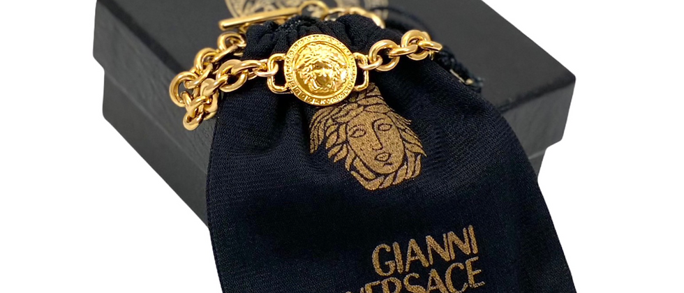 Vintage Repurposed Versace Medusa Toggle Bracelet