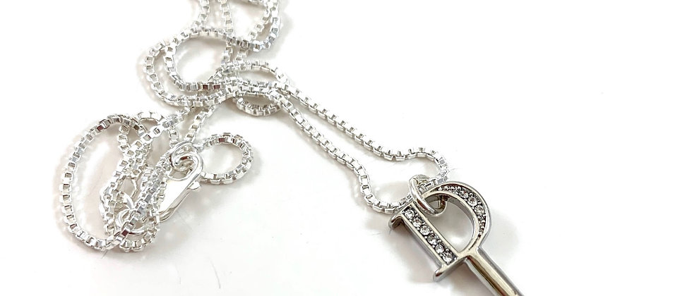 Repurposed Christian Dior Sterling Silver Rhinestone D Key Charm Necklace