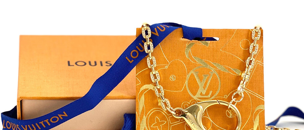 Repurposed Louis Vuitton Gold CZ Pave Choker Necklace