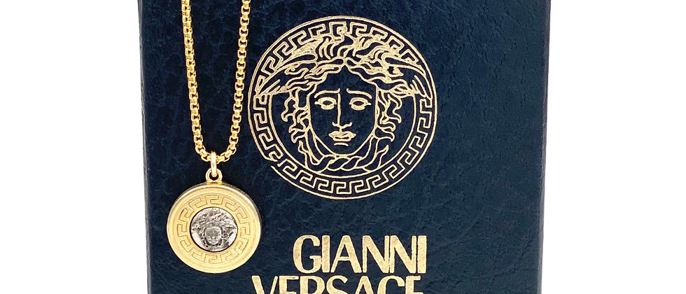Vintage Repurposed Versace Silver & Gold Medusa Medium Charm Necklace