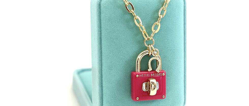 Repurposed Henri Bendel NY Pink & Gold Padlock & Horseshoe Charm Choker Necklace