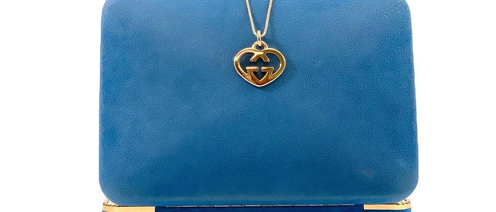 Repurposed Vintage Gucci GG Rare Heart Charm Necklace