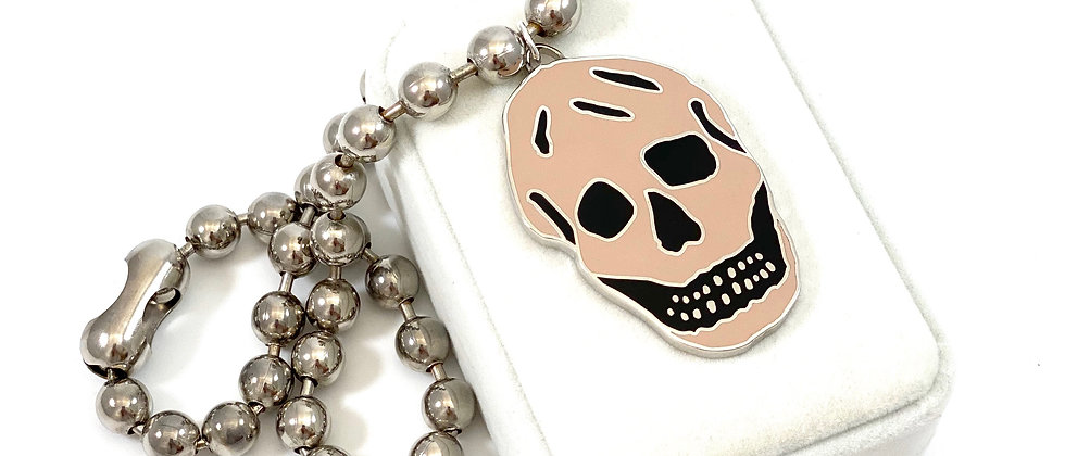 Repurposed Alexander McQueen Black & Peach Enamel Skull Necklace