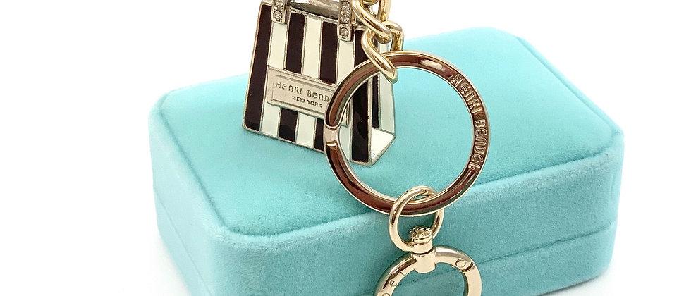 Henri Bendel Enameled Iconic Striped Shopping Bag Keychain w/Swarovski Accents