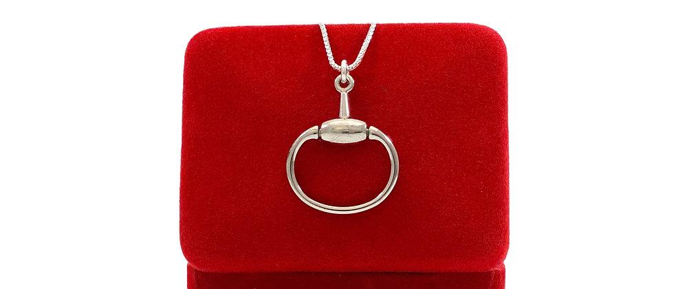 Repurposed Vintage Gucci Silver Horsebit Charm Necklace