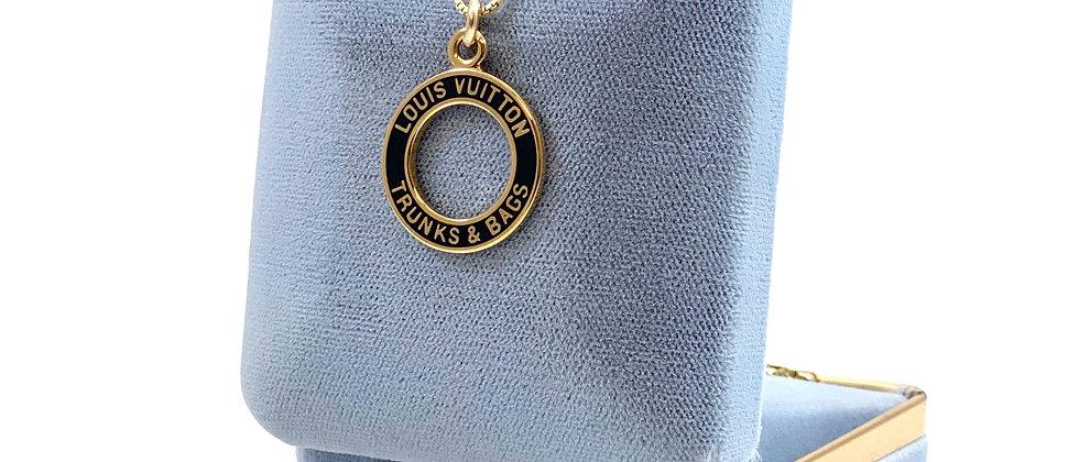 Repurposed Louis Vuitton Medium Deep Navy Enameled Trunks & Bags Charm Necklace