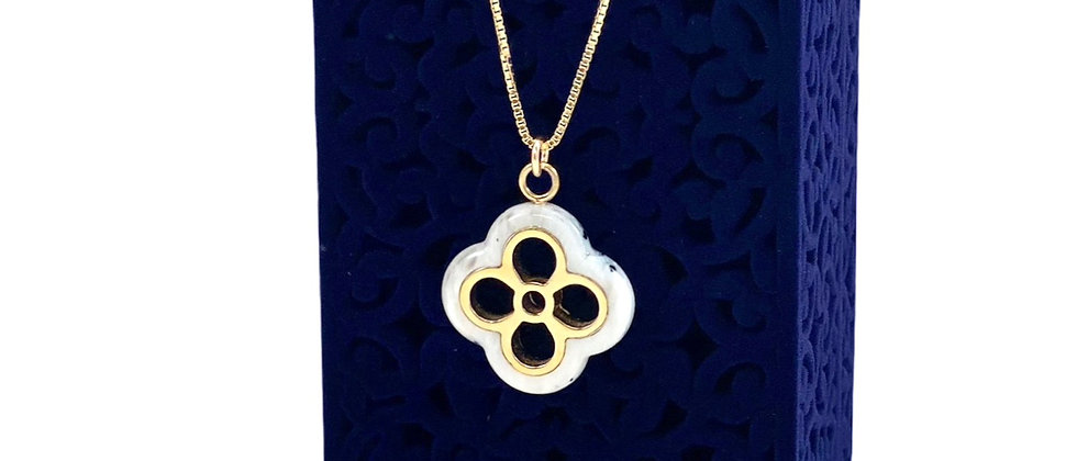 Repurposed Louis Vuitton Gold & Blue Marbled Lucite Flower Charm Necklace