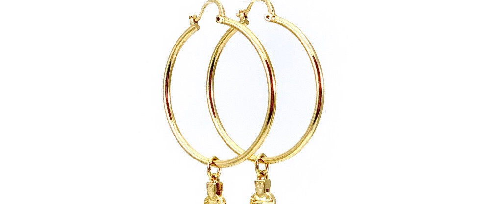 Authentic Henri Bendel NY Luggage Tag Charm Gold Hoop Earrings