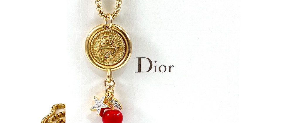 Repurposed Vintage Christian Dior Monogram with Cherry & Star Charms