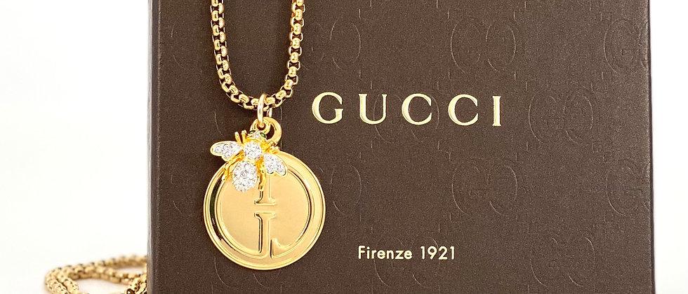 Repurposed Vintage 1990's Gold Gucci & Vintage Swarovski Bee Charm Necklace