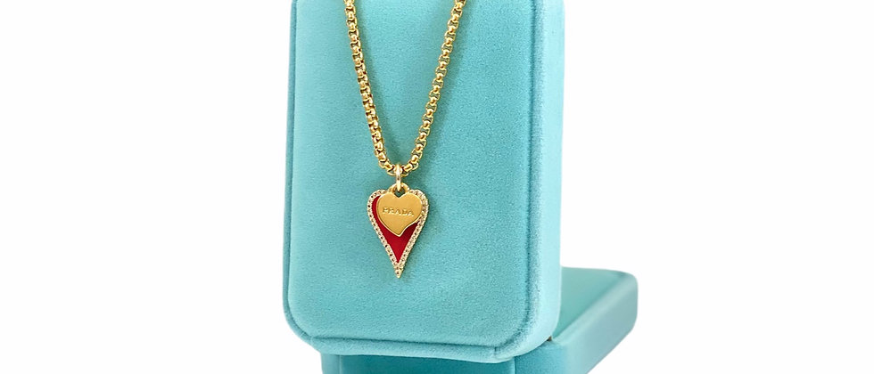 Repurposed Small Gold Prada Heart & Red Enamel Charms Necklace