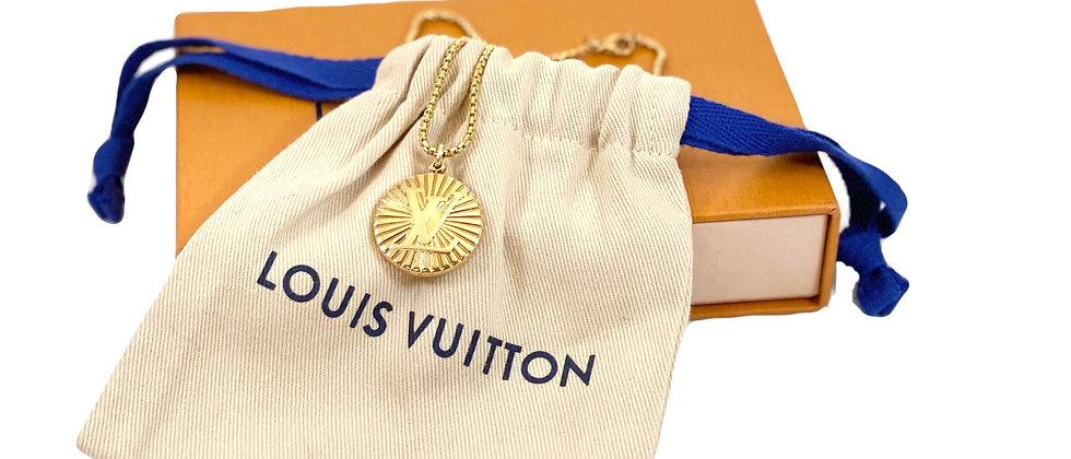Repurposed Rare Louis Vuitton Large Gold LV Monogram Necklace