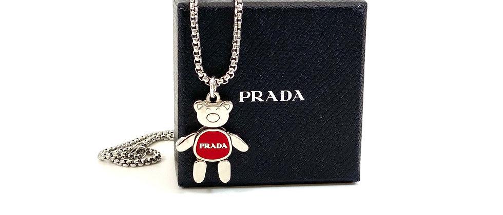 Repurposed Medium Silver & Red Prada Bear Charm Necklace