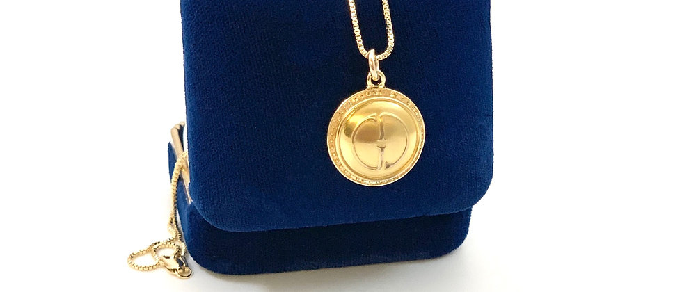 Repurposed Vintage Gucci GG Small Gold Pendant Necklace