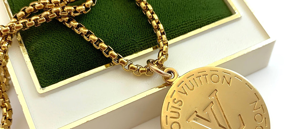 Repurposed Louis Vuitton Large Gold LV Monogram Charm Necklace