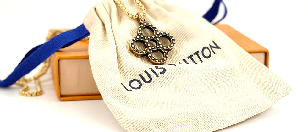 Repurposed Louis Vuitton Antiqued Gold Studded Flower Charm Necklace
