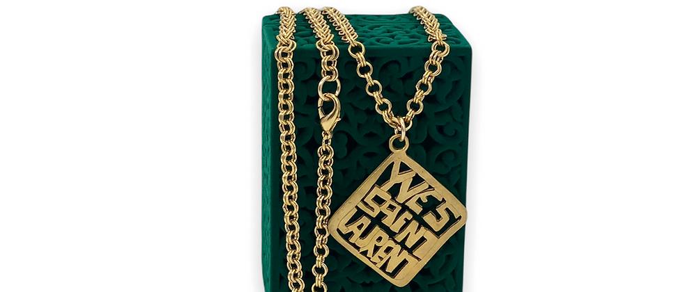 Repurposed Vintage Yves Saint Laurent Square Matte Charm Dbl Choker Necklace