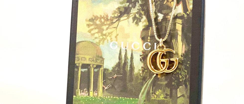 Repurposed Medium Gold Gucci GG Charm Necklace