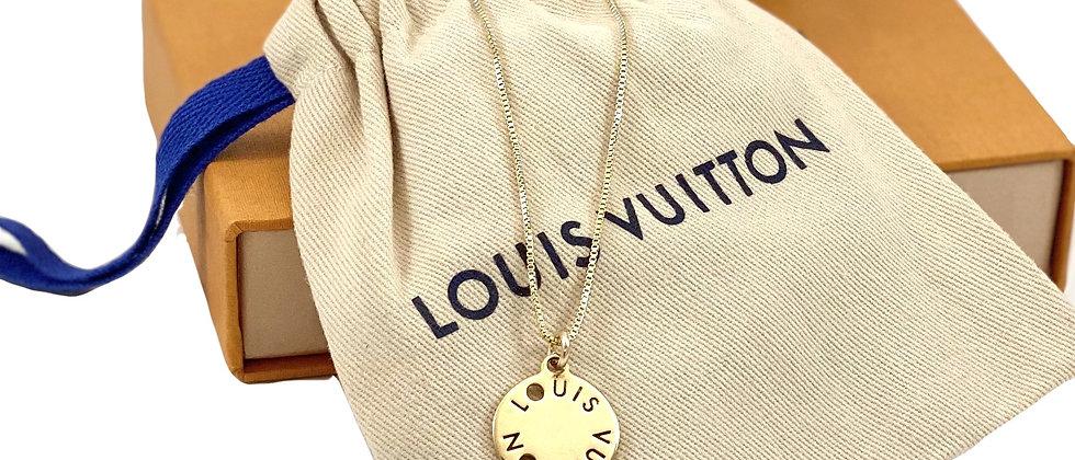 Repurposed Louis Vuitton Medium Gold Cut Out Charm Necklace