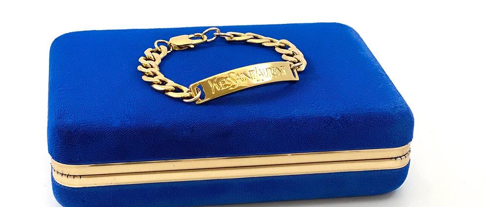 Repurposed Yves Saint Laurent Gold Bar Curb Link Bracelet