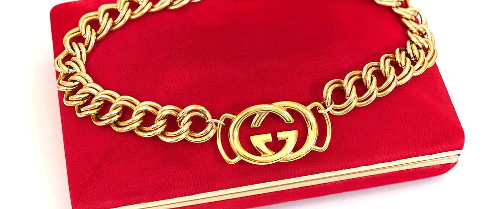 Repurposed Vintage XL Gucci Gold GG Chunky Choker Necklace