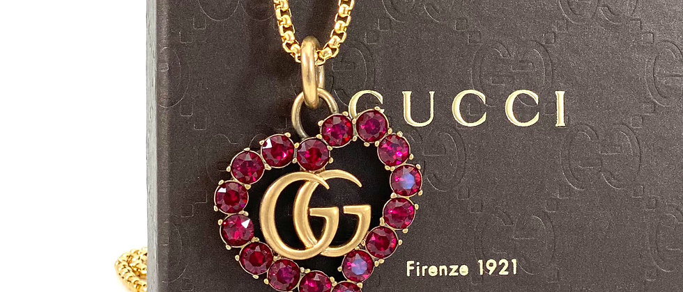 Repurposed RARE Gucci XL Ruby Colored Crystal GG Heart Pendant Necklace