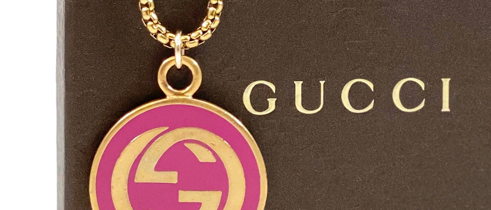 Repurposed Vintage Gucci Hot Pink & Gold XL Charm Necklace