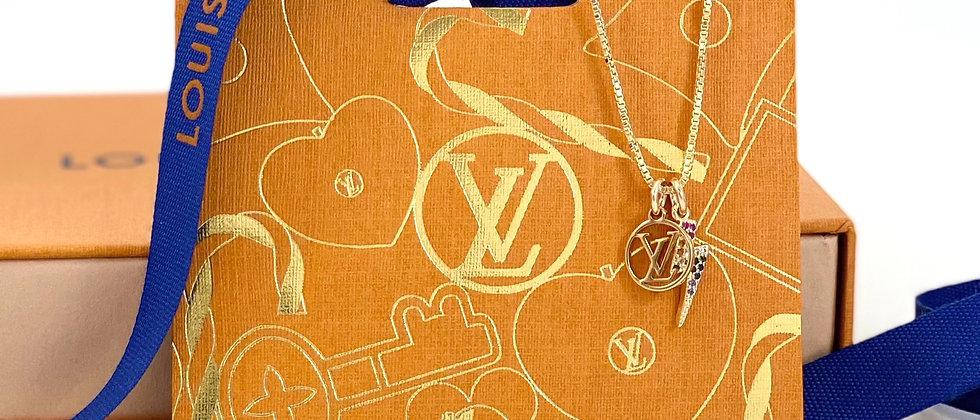 Repurposed Louis Vuitton Petite LV Charm Necklace w/Removable Lightning Bolt