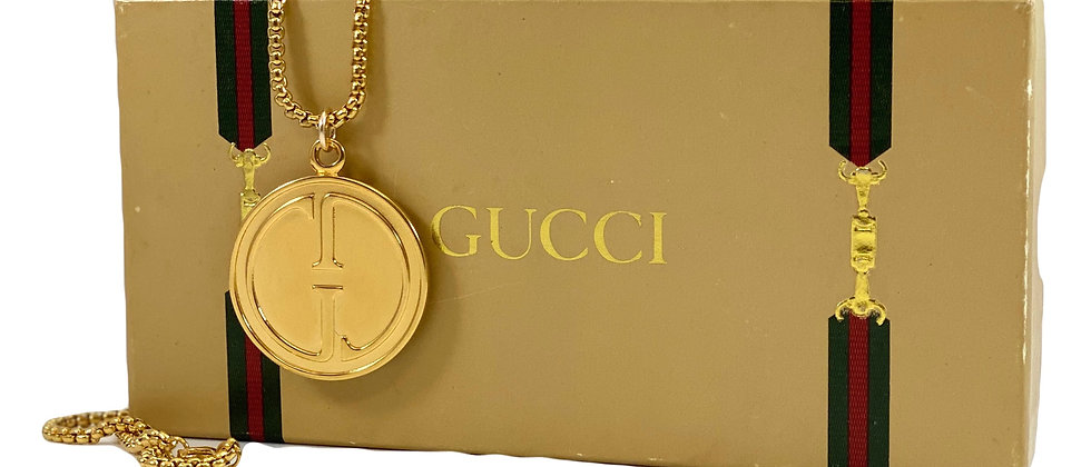 Repurposed Vintage 1990's XL Gucci Double Sided Gold Pendant Necklace