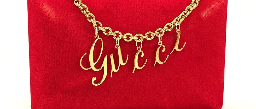 Repurposed Vintage RARE Gucci Gold Floating Cursive Script Choker Necklace