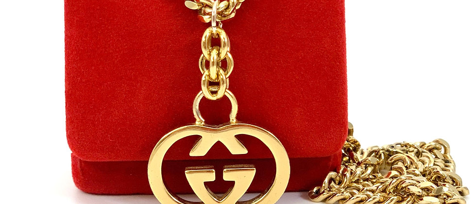 Repurposed Vintage Gucci XL Gold GG Long Curb Chain Necklace