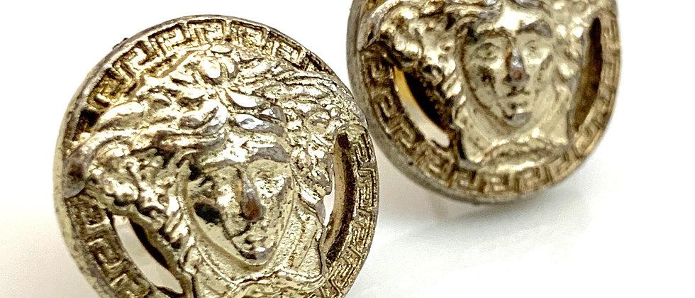 Vintage Repurposed Antiqued Pale Gold Versace Medusa Earrings