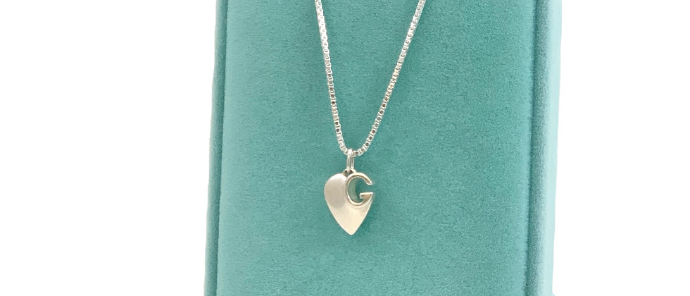 Repurposed Gucci Sterling Silver Small G Heart Charm Necklace