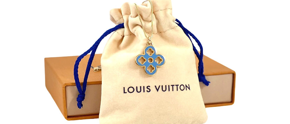Repurposed Louis Vuitton Medium Blue & Orange Enamel Flower Necklace