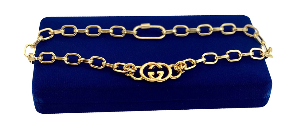 Repurposed Vintage Gucci Gold GG Link Chunky Paperclip Choker Necklace