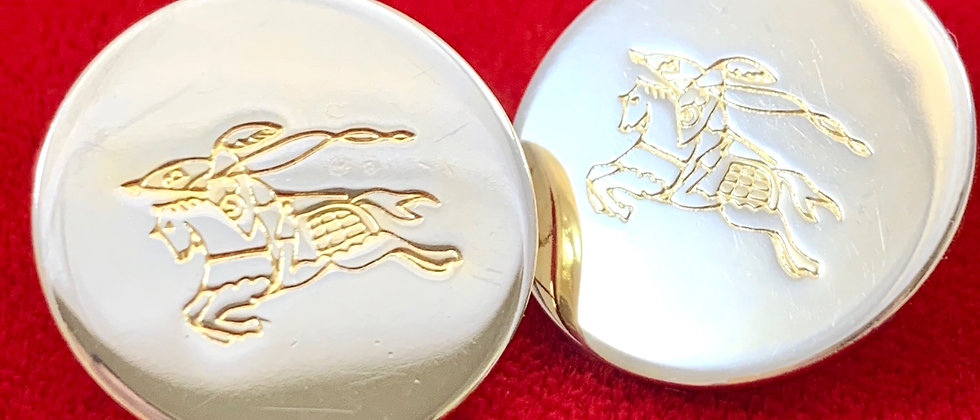 Repurposed Burberry Knight Large Gold Button Earrings