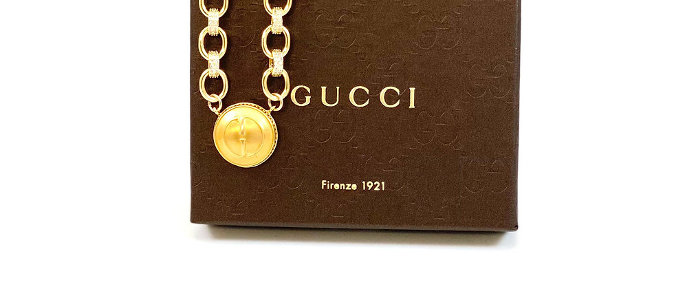 Repurposed Vintage Large Gucci GG & CZ Choker Necklace