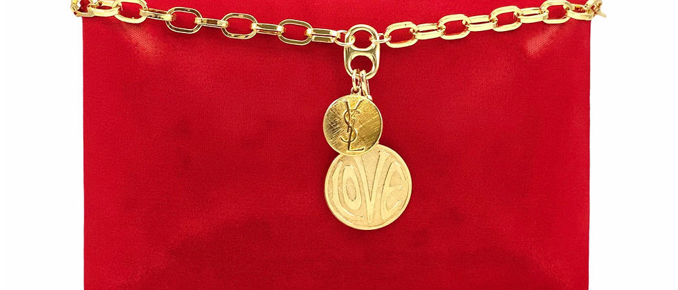 Repurposed Vintage YSL & Removable 70's LOVE Charm Chunky Necklace