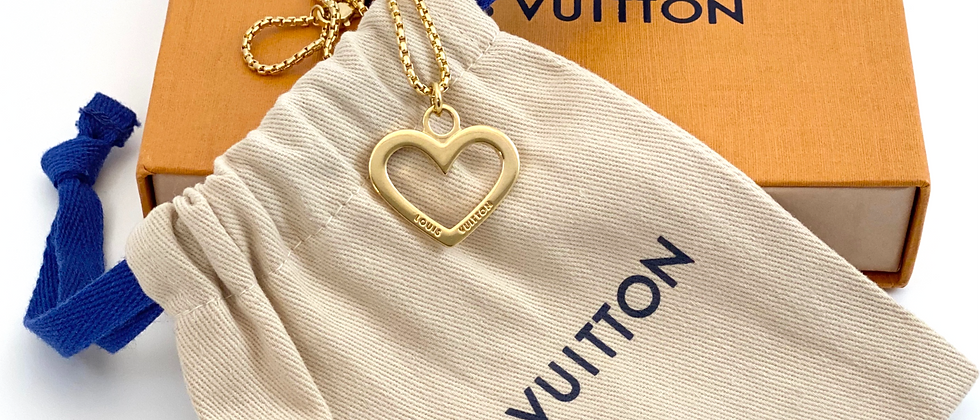 Repurposed Louis Vuitton Gold Cut Out Heart Charm Necklace