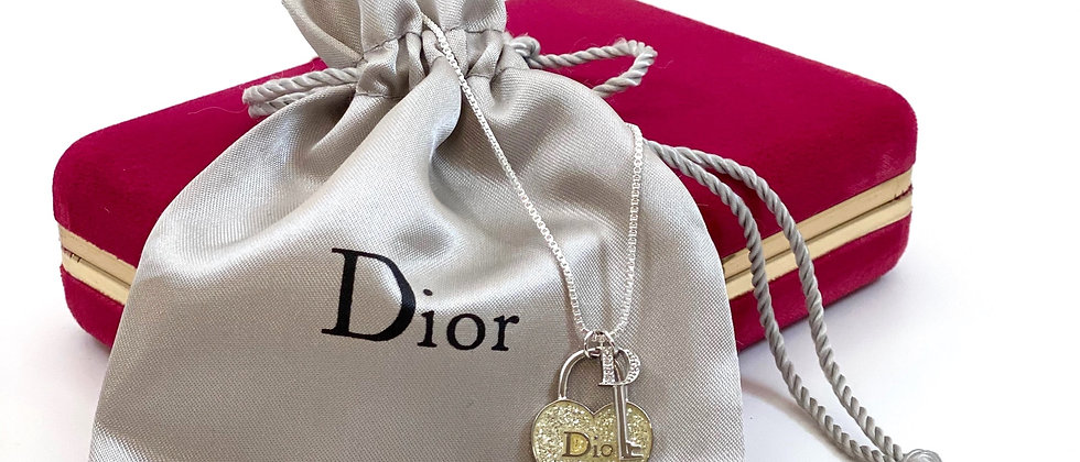 Repurposed Dior Sterling Cream Yellow Glitter Heart & Key Charm Necklace
