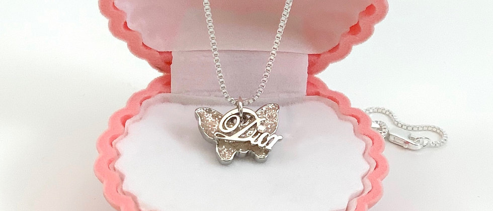 Repurposed Christian Dior Script Charm & Pink Glitter Butterfly Necklace