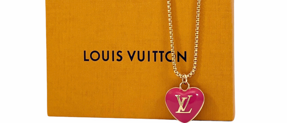 Repurposed Louis Vuitton Hot Pink Puffed Monogram Heart Charm Necklace