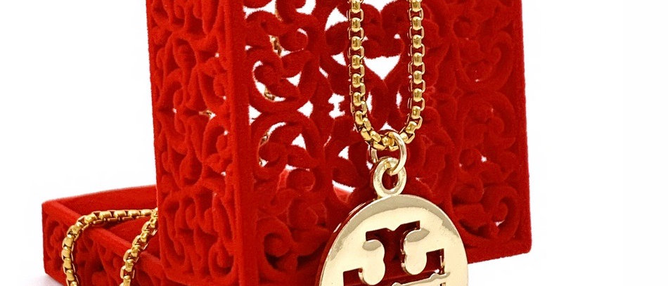 Repurposed Tory Burch Large Gold Logo Charm Necklace