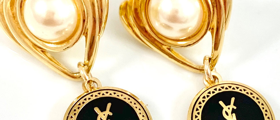 Repurposed Black & Gold YSL Simulated Pearl Drop Earrings