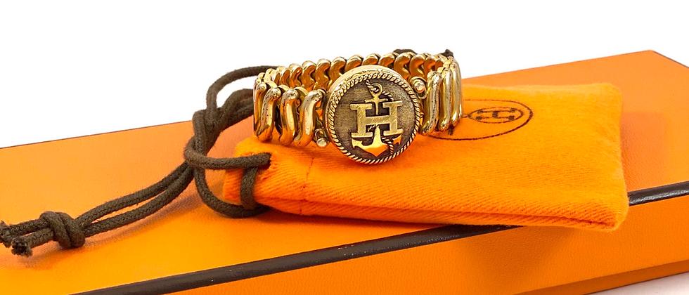 Vintage Repurposed Hermès H Gold Filled Expansion Bracelet