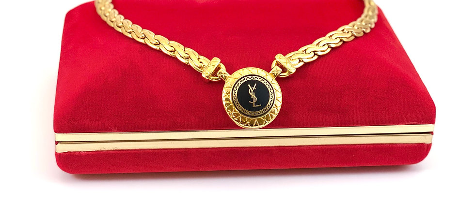 Repurposed YSL Black & Gold Woven Choker Necklace