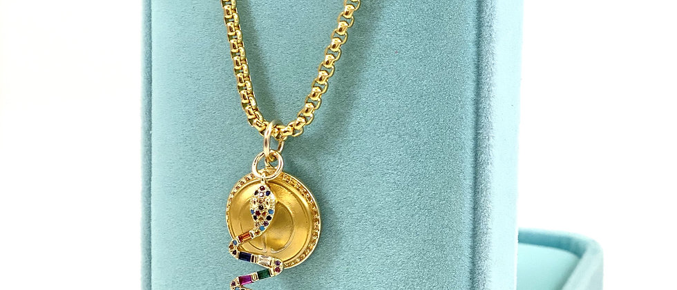 Repurposed Vintage Gucci GG & Pave Snake Charm Necklace