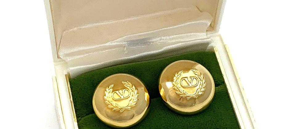Vintage Repurposed Valentino V Logo Gold Dome Earrings